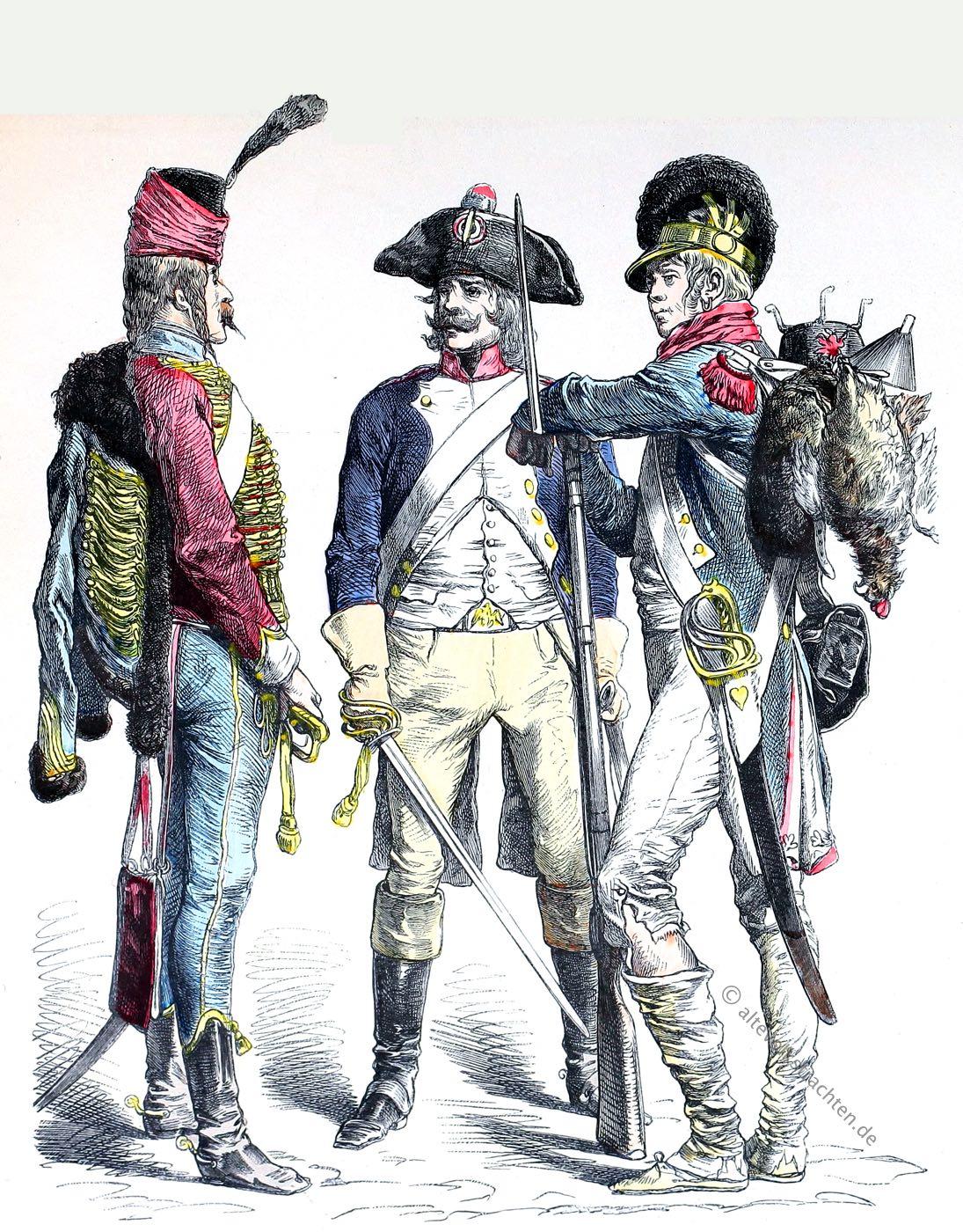 Münchener Bilderbogen, Husar, Linienkavallerie, Infanterie, Militär, Uniformen, Frankreich, Revolutionsarmee