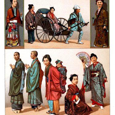 Japanische Trachten. Geistliche und bürgerliche.