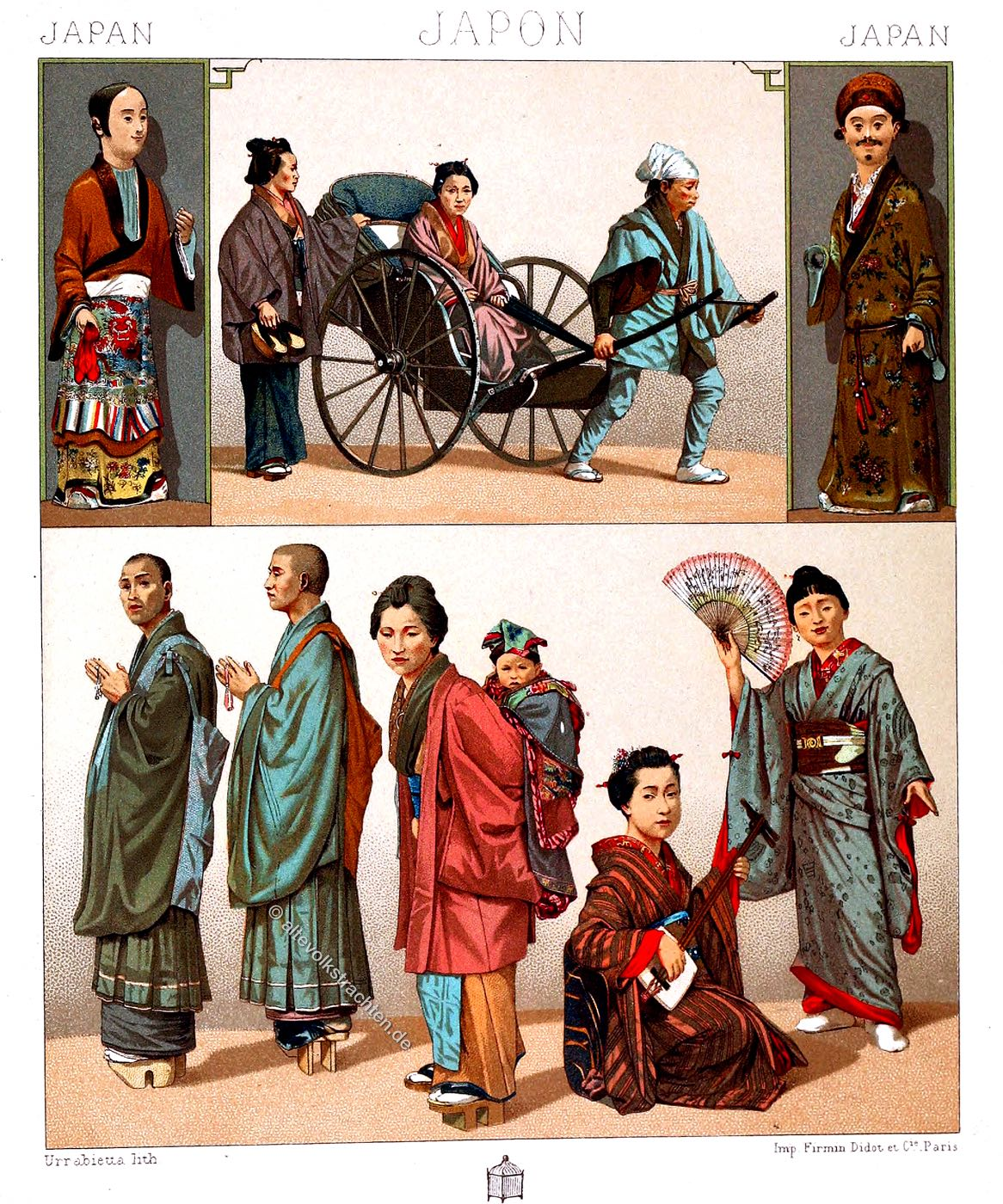 Auguste Racinet, Traditionelle Japan Trachten, Kostüme,