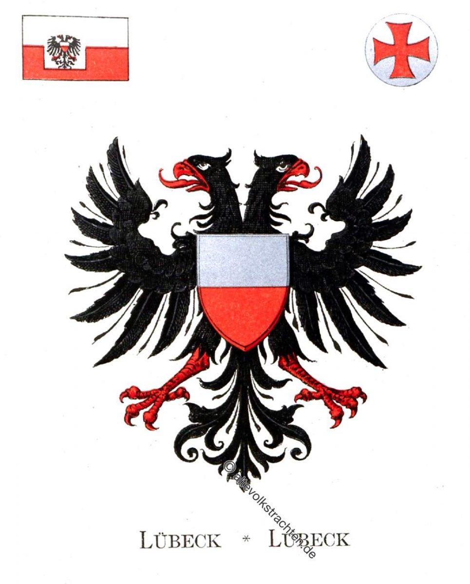 Lübeck, Lubeck, Staatswappen, Wappen, Heraldik, Deutschland, Landesflaggen, Cocarden,