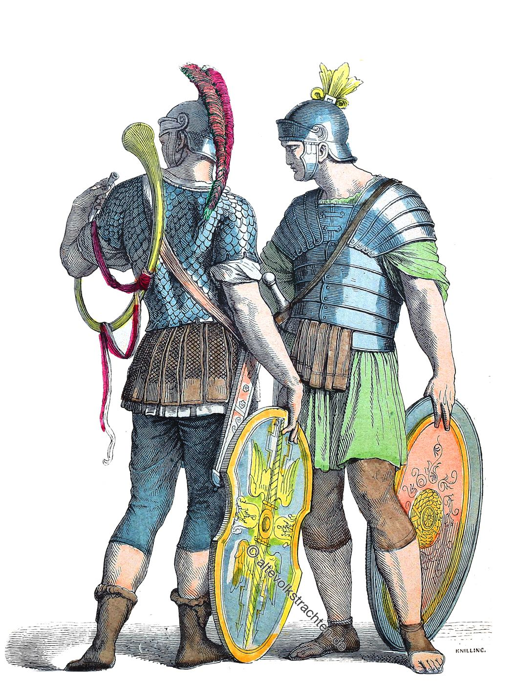 Münchener Bilderbogen, Römische Krieger, Soldaten, Legionäre, Rüstung, Bewaffnung, Kostüme