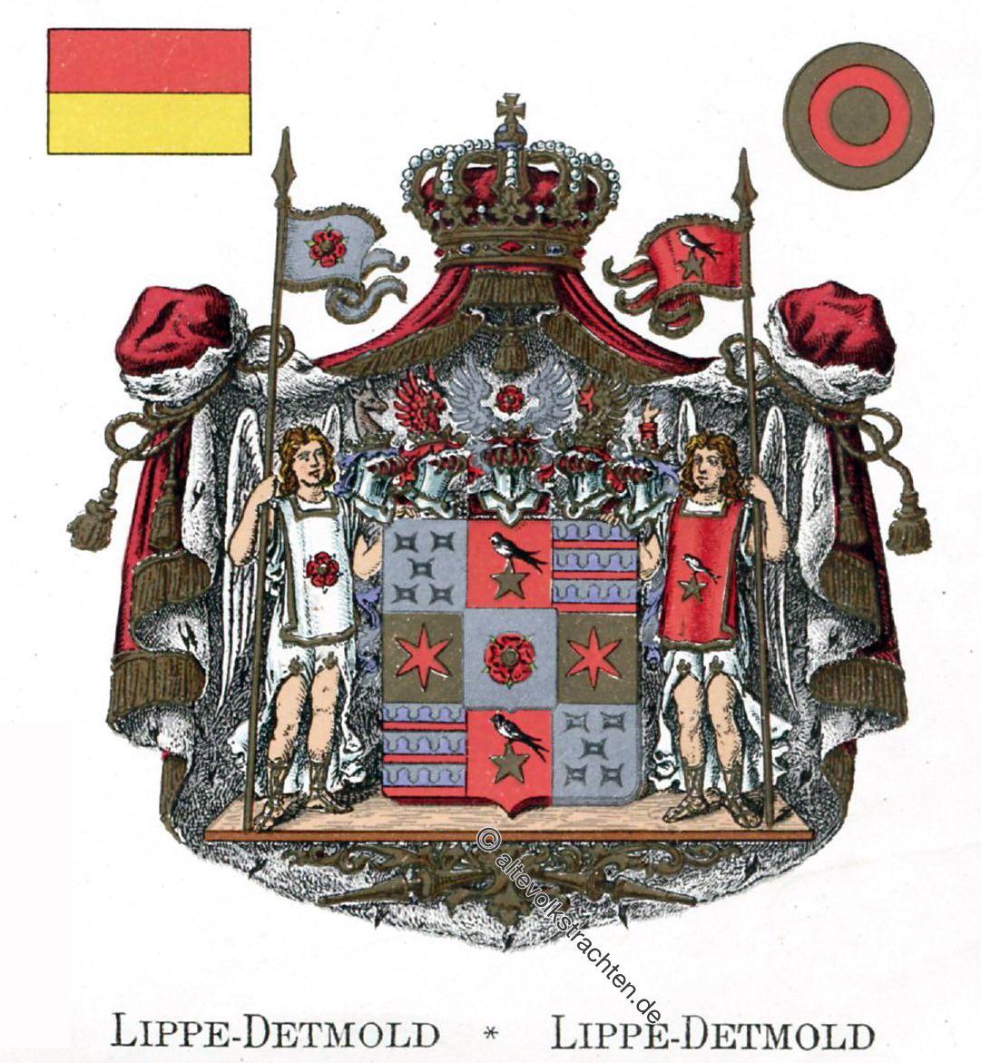 Lippe-Detmold, Staatswappen, Wappen, Heraldik, Deutschland, Landesflaggen, Cocarden, heraldry, héraldique, armoiries,