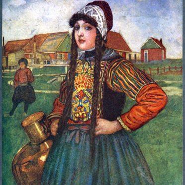 Mädchen in der Tracht der Marken, Holland.