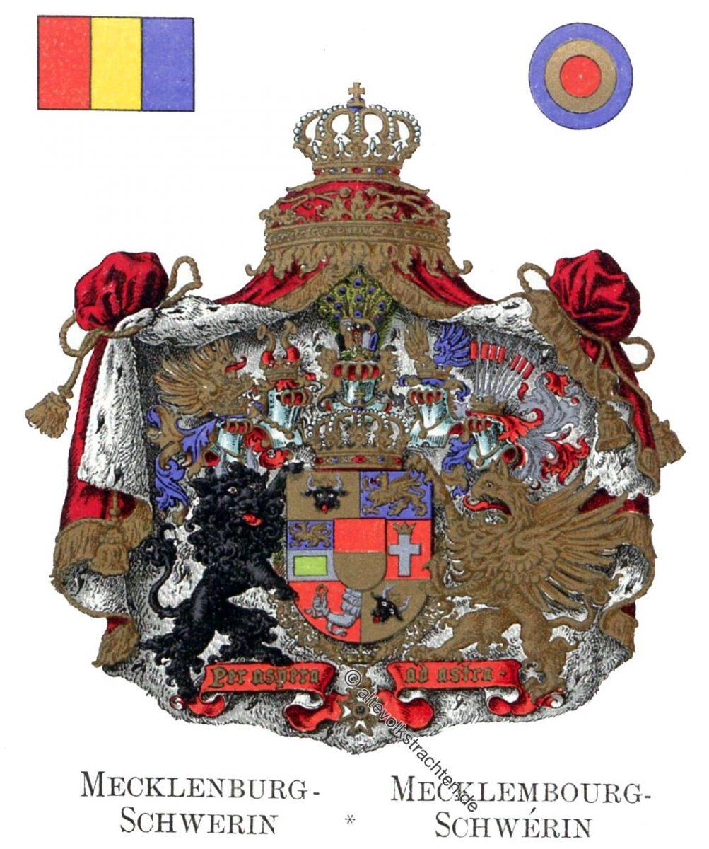 Mecklenburg-Schwerin, Mecklenbourg-Schwérin, Staatswappen, Wappen, Heraldik, Deutschland, Landesflaggen, Cocarden,