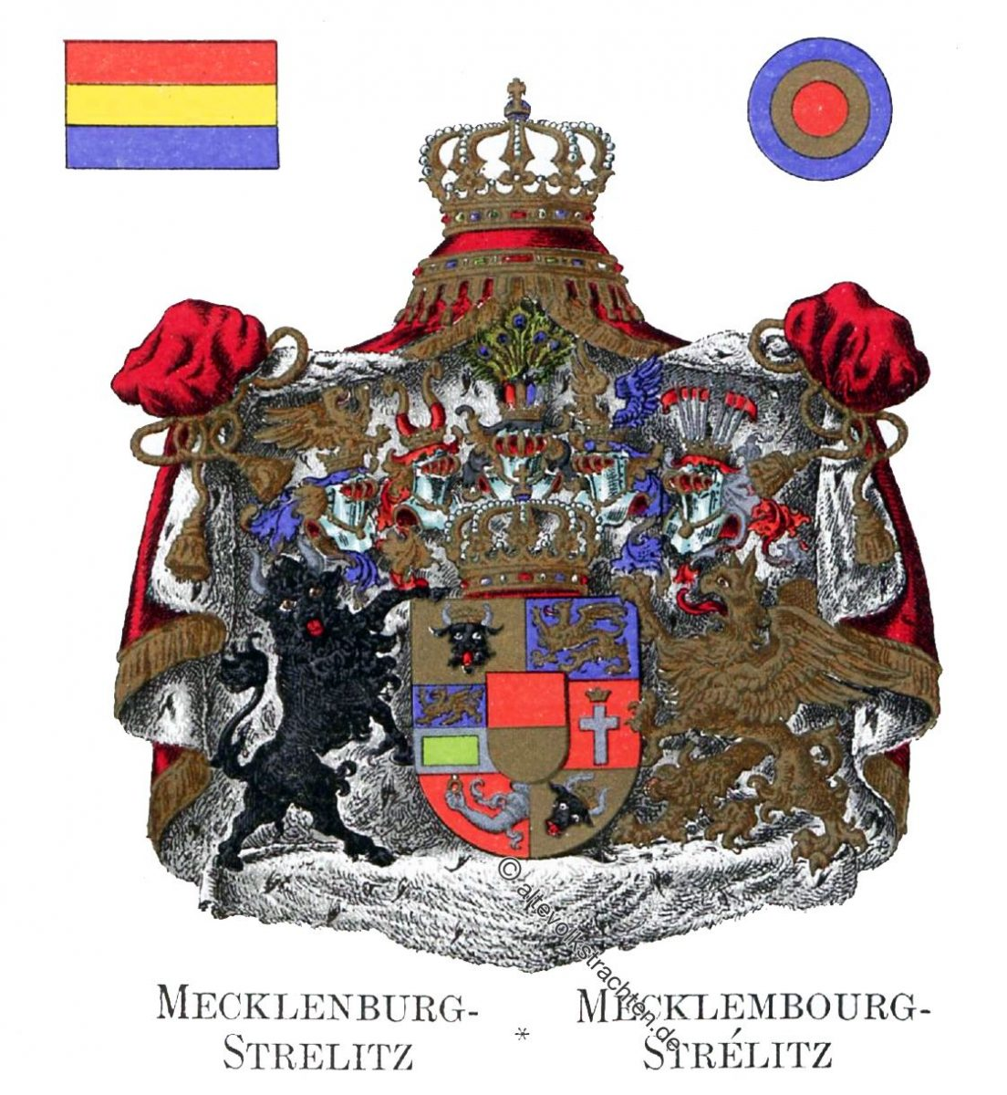 Mecklenburg-Strelitz, Mecklenbourg-Strélitz, Staatswappen, Wappen, Heraldik, Deutschland, Landesflaggen, Cocarden,