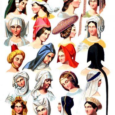 Kopfbedeckungen vom 13. bis 16. Jahrhundert.