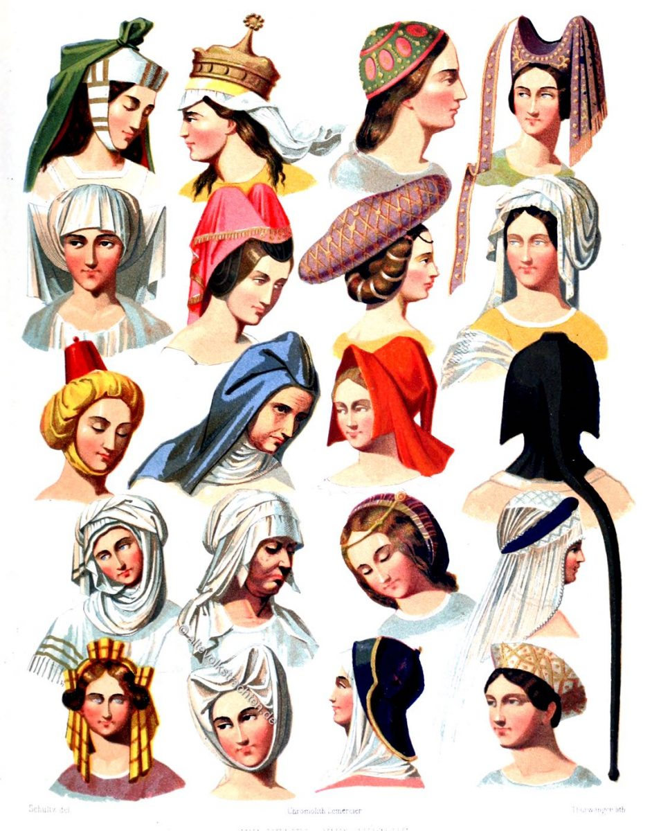 Frauen Kopfbedeckung der verschiedenen Klassen der Gesellschaft. Das Mittelalter und die Renaissance. Mode & Kostüme.