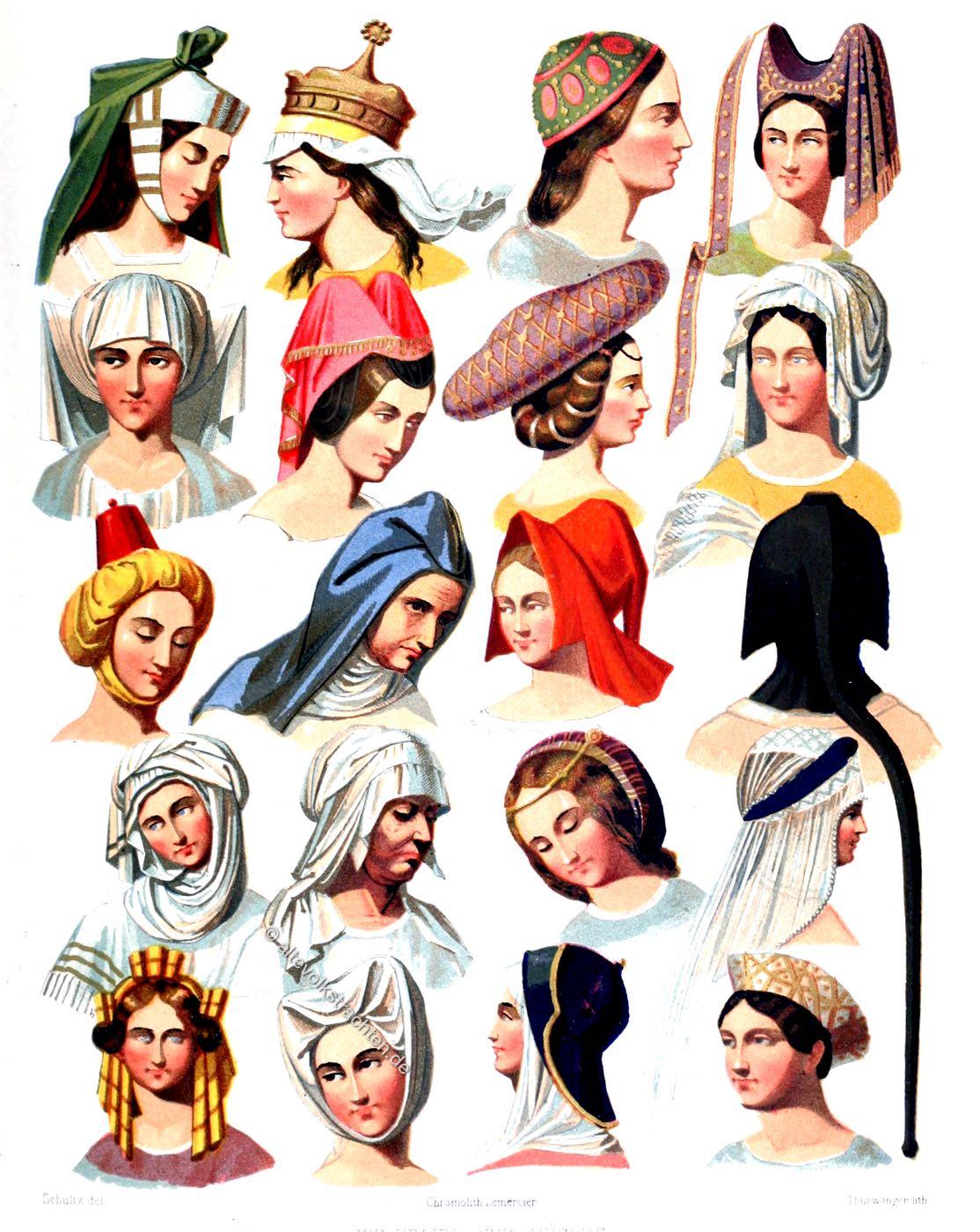 kauf verkauf wo zu kaufen riesiges Inventar Kopfbedeckungen vom 13. bis 16. Jahrhundert.