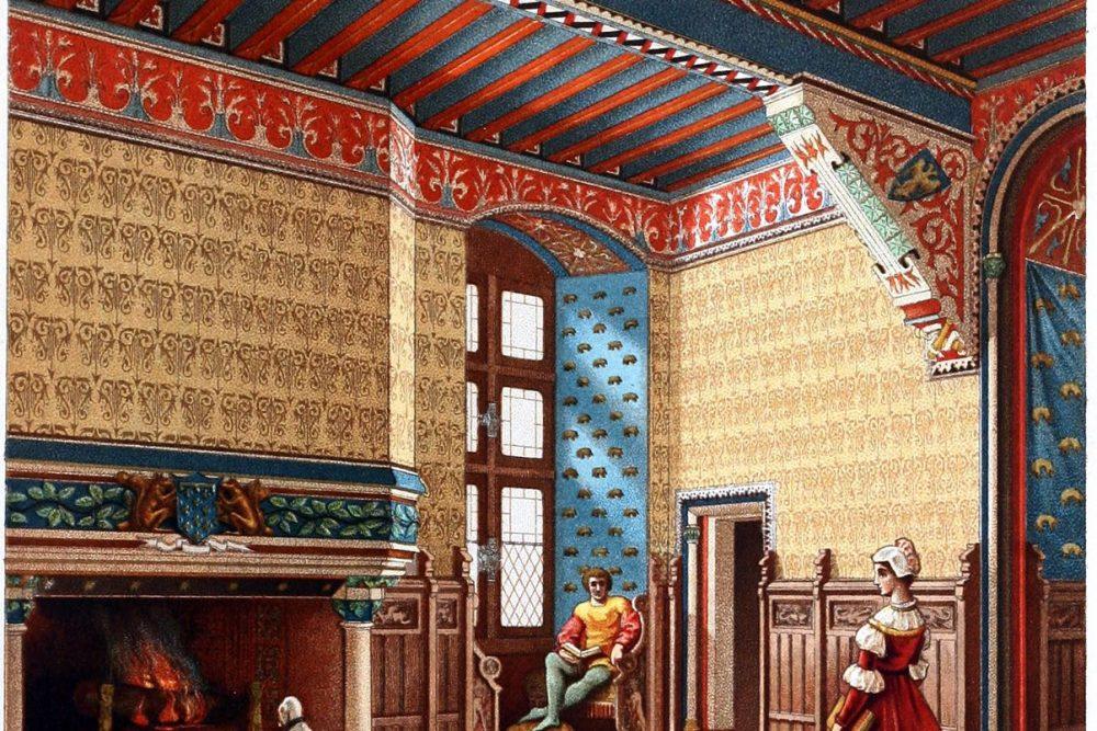 Auguste Racinet, Château, Saal, Schloss, Pierrefonds, Frankreich, Mittelalter,