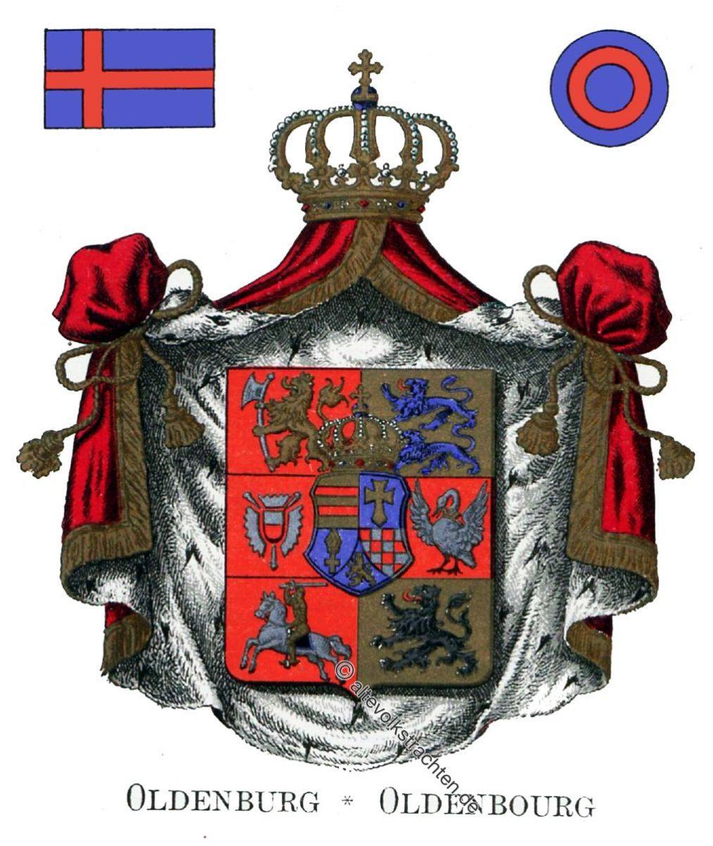 Oldenburg, Oldenbourg, Staatswappen, Wappen, Heraldik, Deutschland, Landesflaggen, Cocarden,