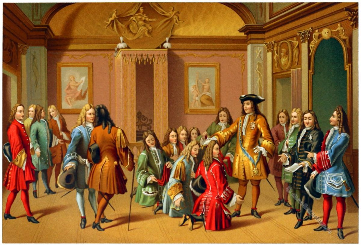 Chevaliers de l'Ordre militaire de Saint-Louis. La Première remise des décorations par le roi en 1693. François Marot (1710). Château de Versailles.