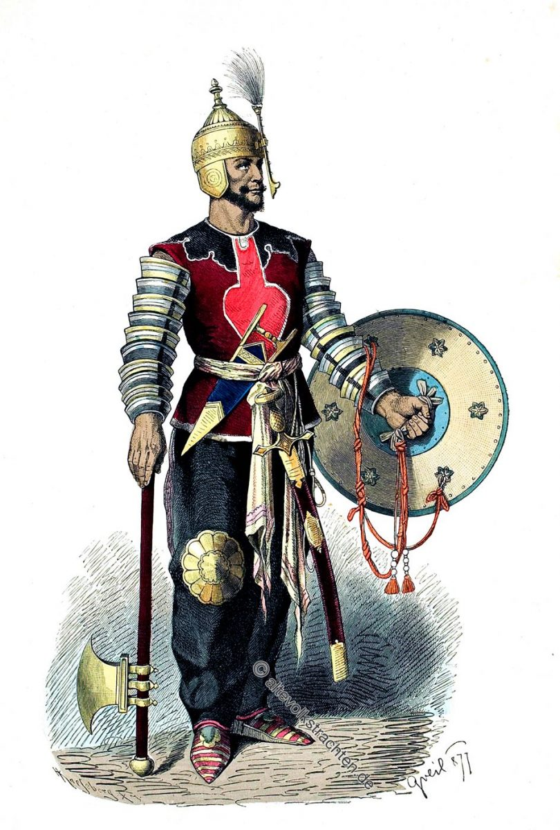 Persischer Krieger im Mittelalter mit Streitaxt, Schild und Schwert.