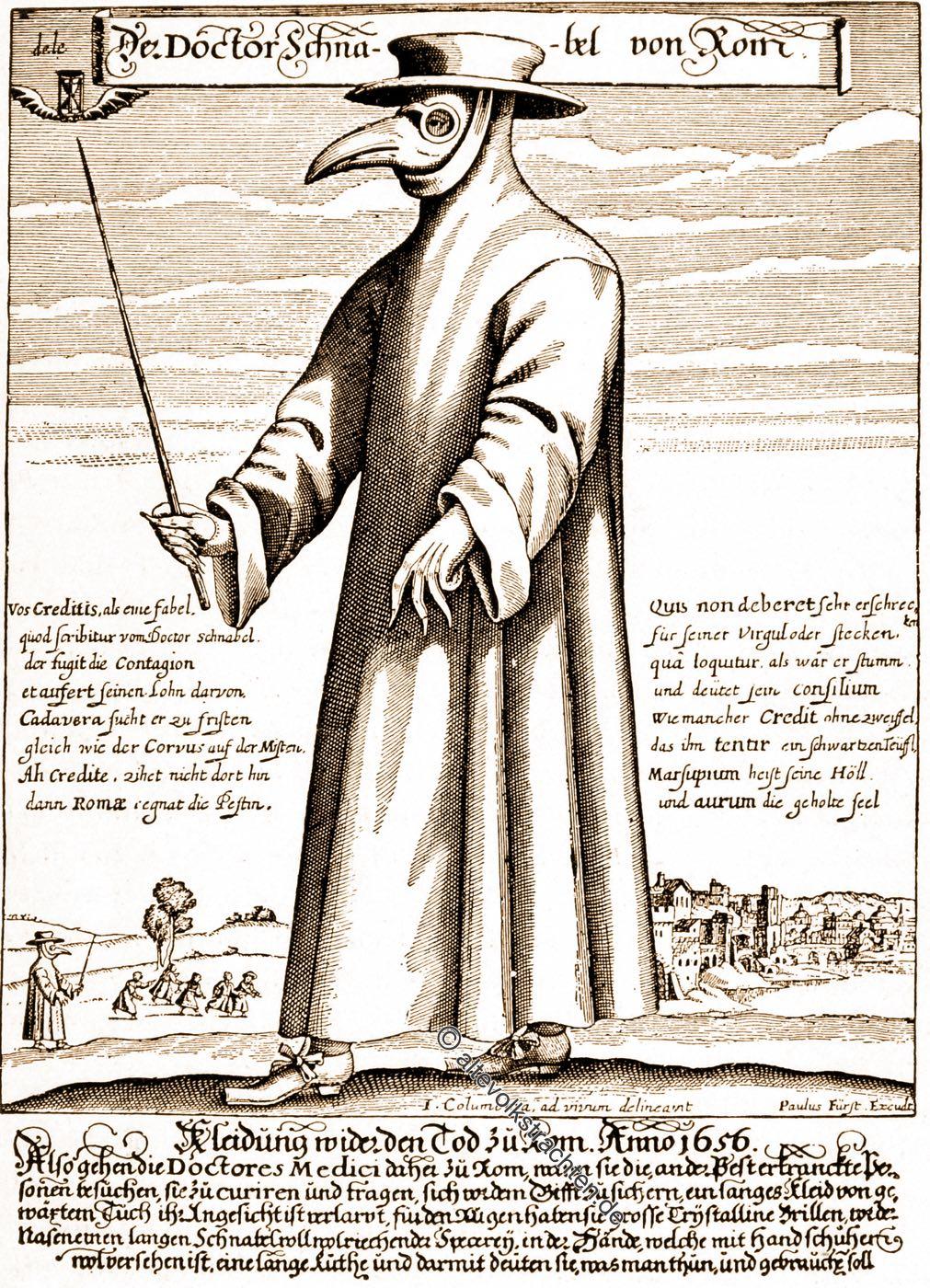Pestarzt, Pestdoktor, Schnabelmaske, Maske, Schutzkleidung, Mediziner, Arzt, Barock, Renaissance