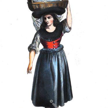 Portugiesische Fischhändlerin aus Pardilhó um 1840.
