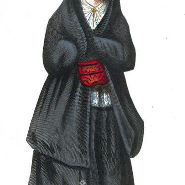Junge Frau in der Tracht von Porto, Portugal.