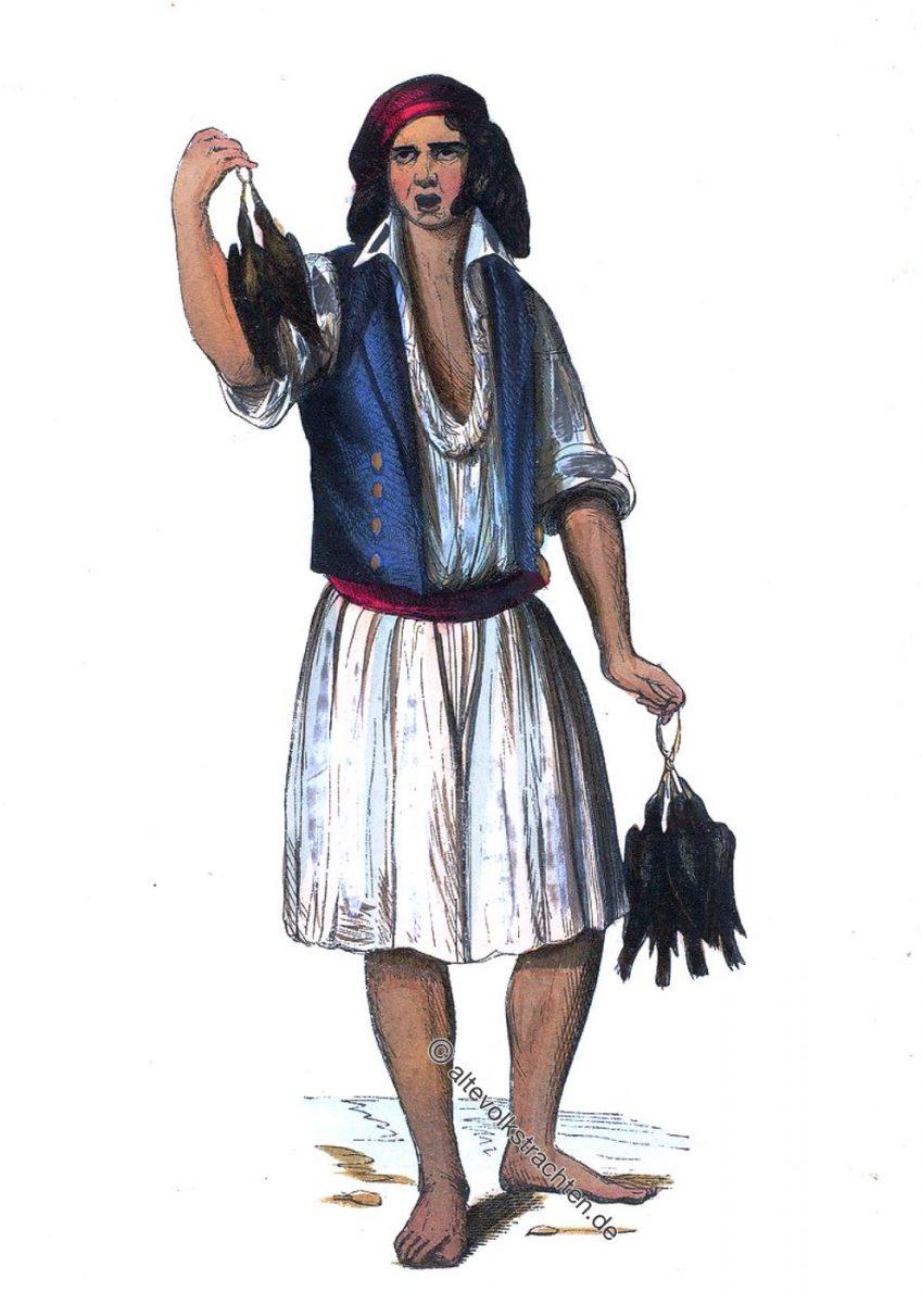 Geflügelhändler aus Portugal, um 1840. Marchand de Volaille de Pardilho. Portugal. - Poultry merchant from Pardilhó.