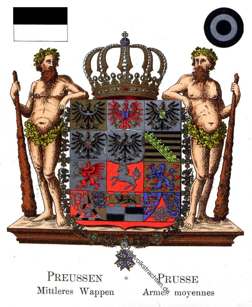 Preussen Mittleres Wappen, Prusse Armes moyennes, Staatswappen, Wappen, Heraldik, Deutschland, Landesflaggen, Cocarden,