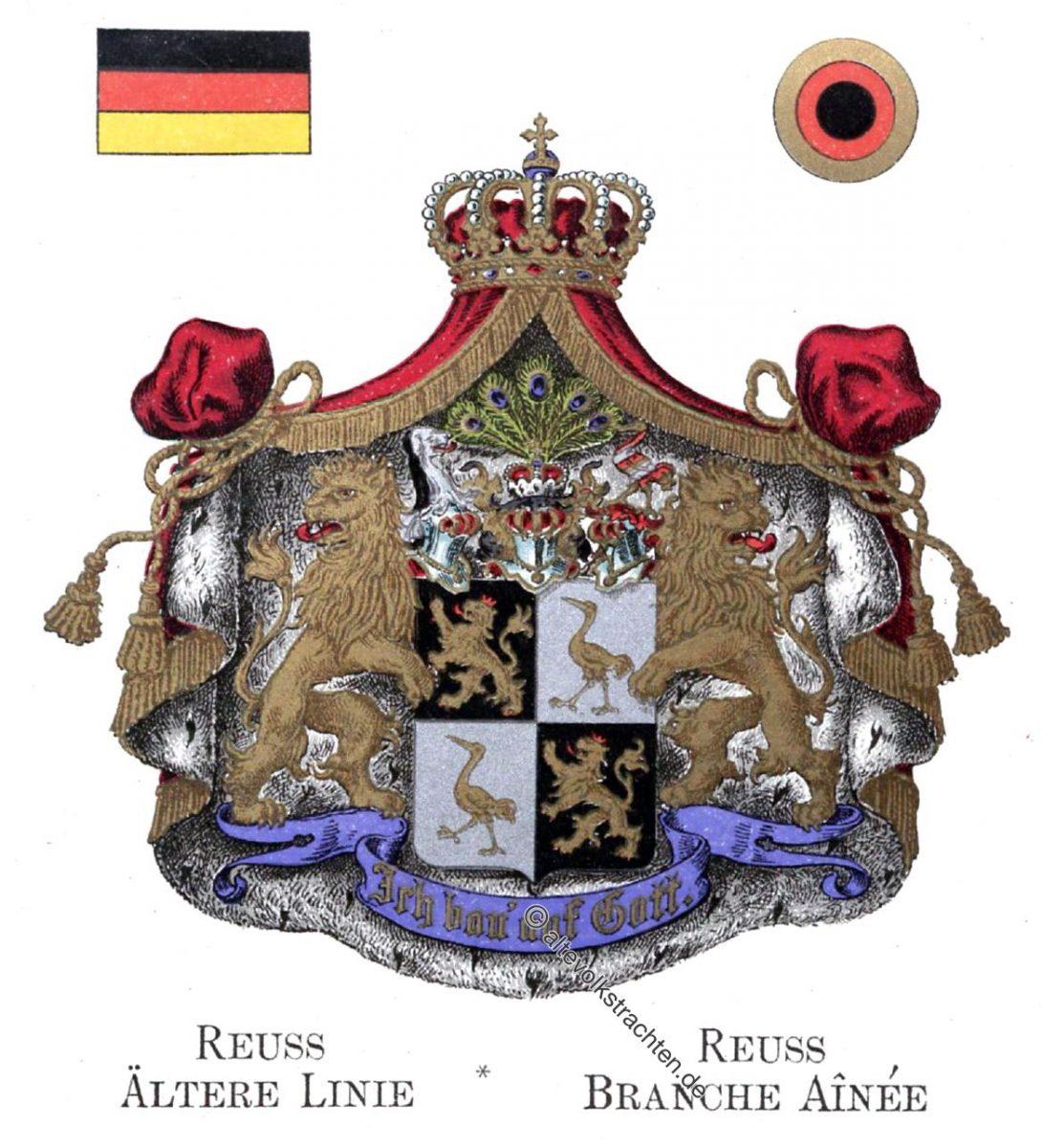 Reuss Ältere Linie, Staatswappen, Wappen, Heraldik, Deutschland, Landesflaggen, Cocarden,