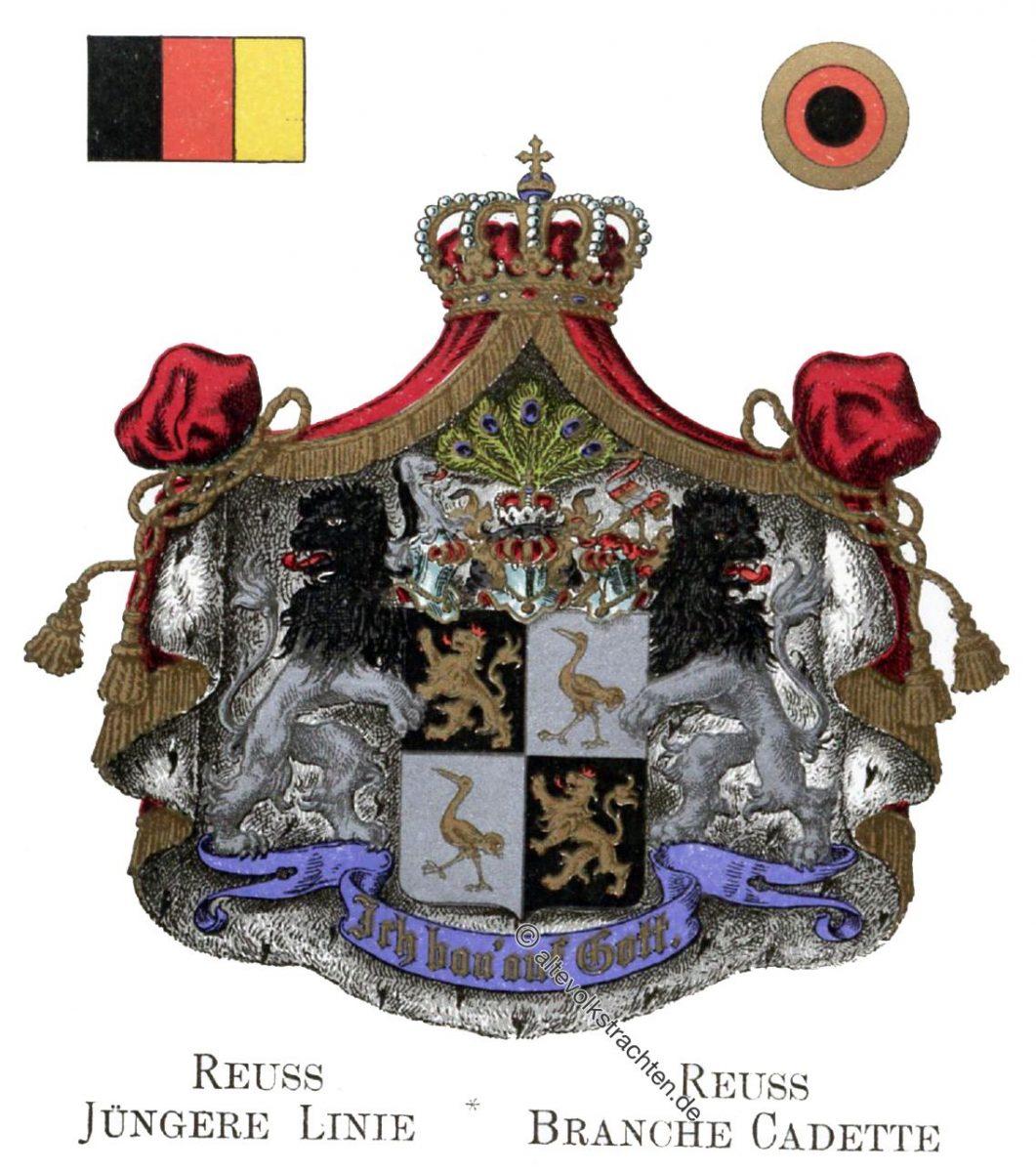 Reuss Jüngere Linie, Staatswappen, Wappen, Heraldik, Deutschland, Landesflaggen, Cocarden,