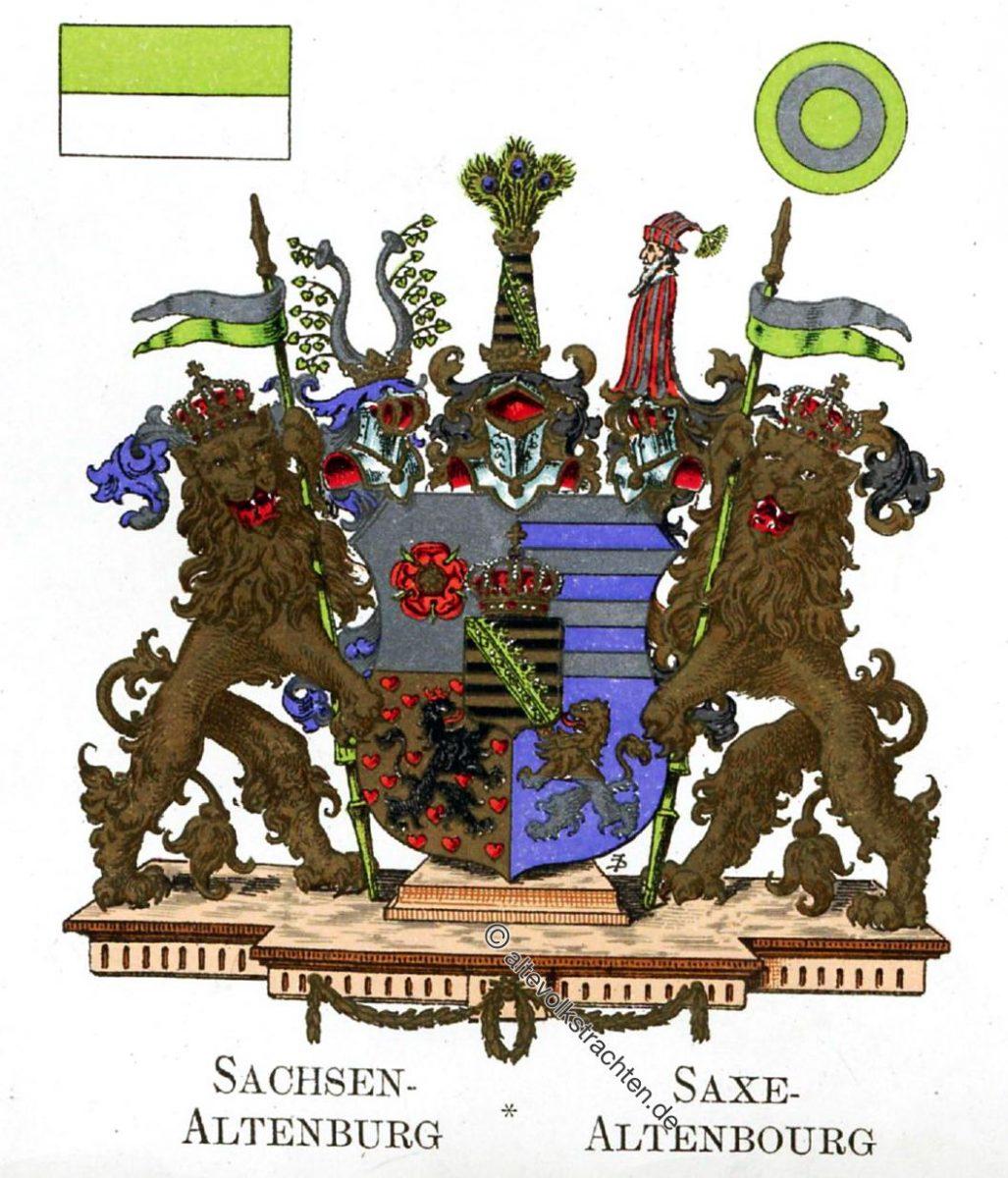 Sachsen-Altenburg, Staatswappen, Wappen, Heraldik, Deutschland, Landesflaggen, Cocarden,