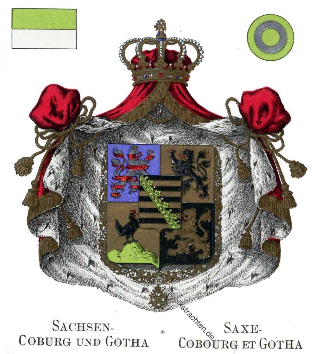 Sachsen, Coburg, Gotha, Staatswappen, Wappen, Heraldik, Deutschland, Landesflaggen, Cocarden,