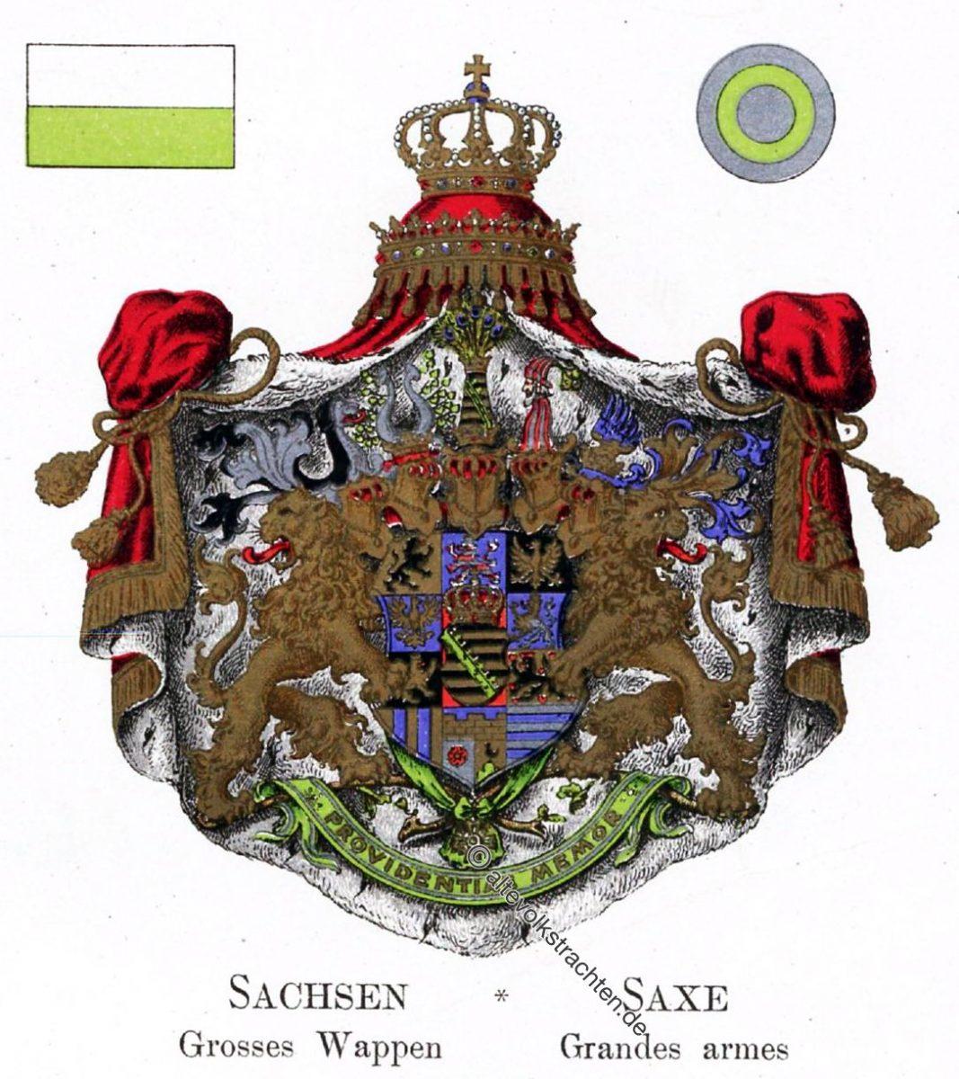 Sachsen, Großes Wappen, Staatswappen, Wappen, Heraldik, Deutschland, Landesflaggen, Cocarden,