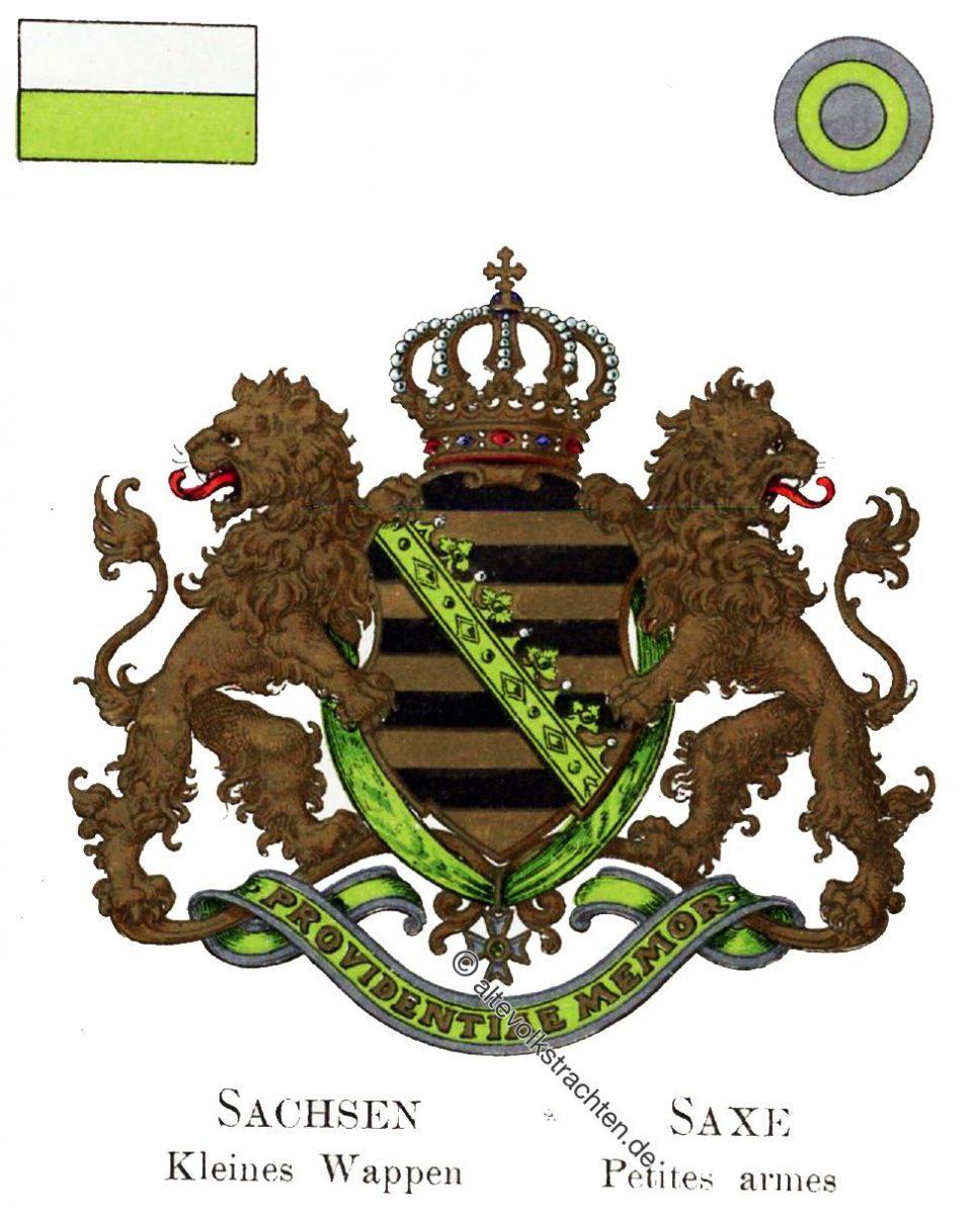Sachsen, Kleines Wappen, Staatswappen, Wappen, Heraldik, Deutschland, Landesflaggen, Cocarden,