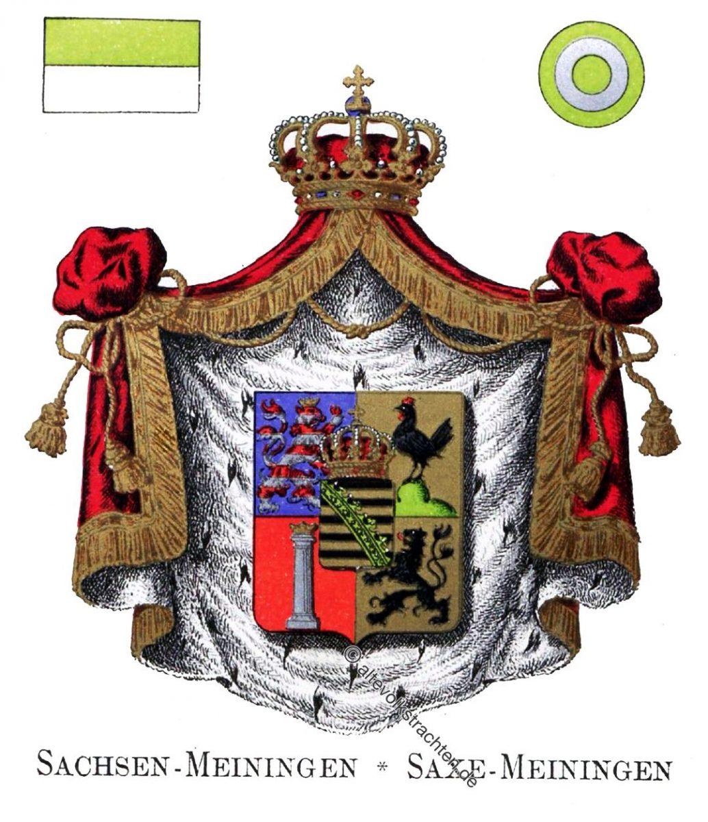 Sachsen-Meiningen, Staatswappen, Wappen, Heraldik, Deutschland, Landesflaggen, Kokarden,