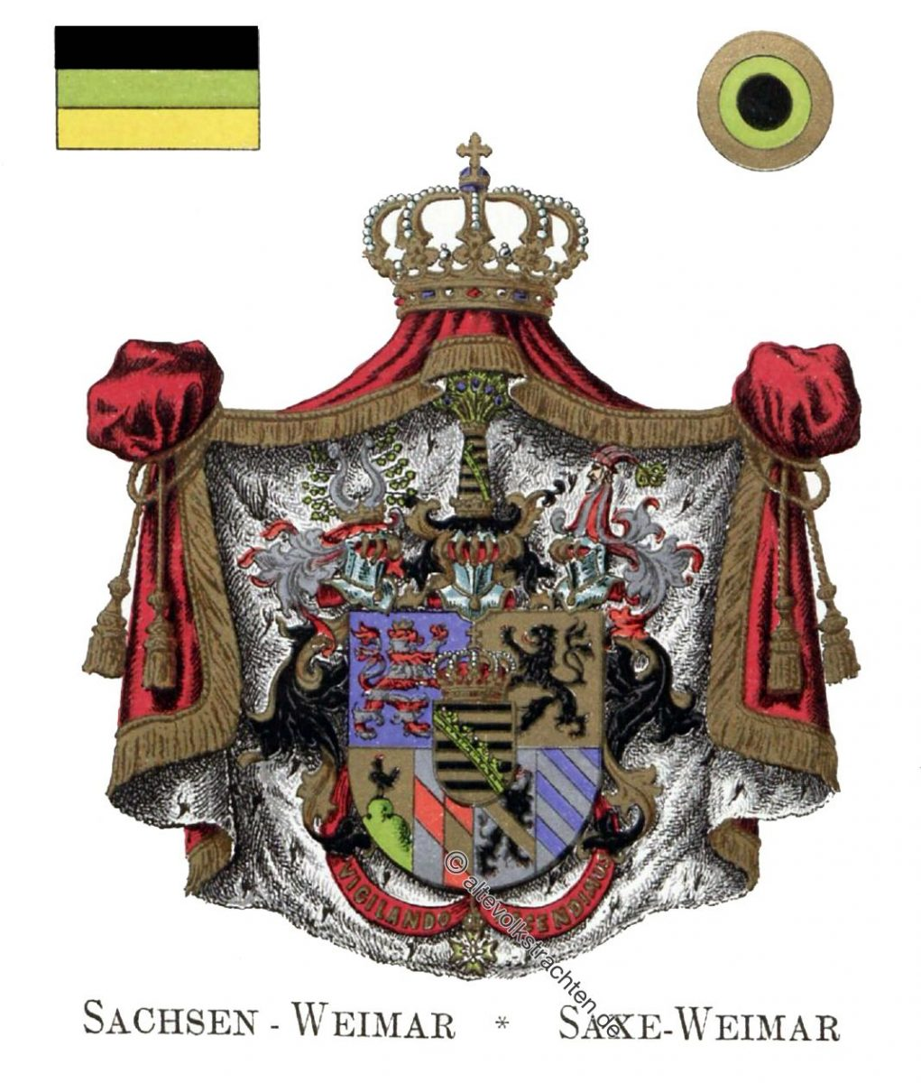 Sachsen-Weimar, Staatswappen, Wappen, Heraldik, Deutschland, Landesflaggen, Kokarden,