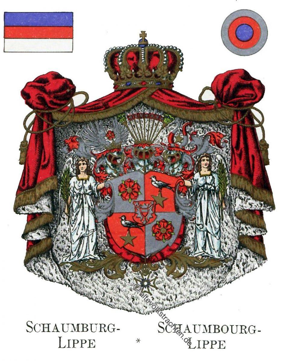 Schaumburg-Lippe, Staatswappen, Wappen, Heraldik, Deutschland, Landesflaggen, Kokarden,