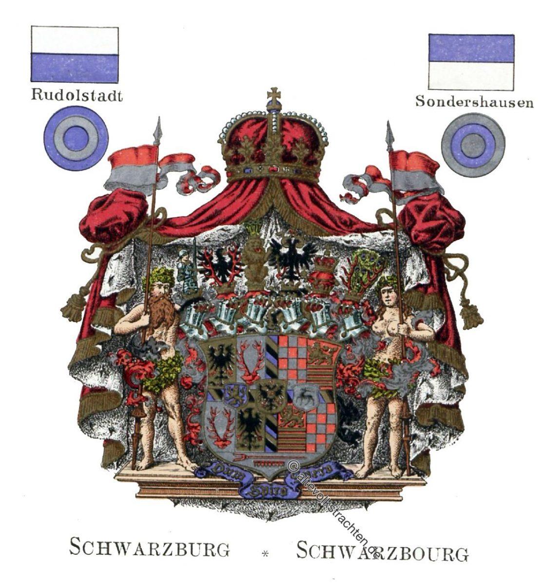 Schwarzburg, Staatswappen, Wappen, Heraldik, Deutschland, Landesflaggen, Kokarden,