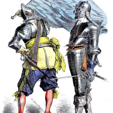 Soldatentrachten zur Zeit des Barock 1630-1650.