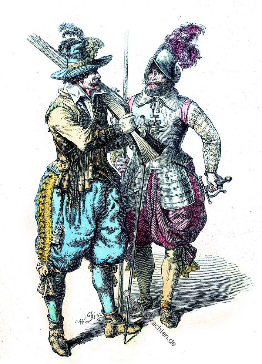 Musketier und Pikenier. Deutsche Soldaten im dreissigjährigen Krieg um 1640.