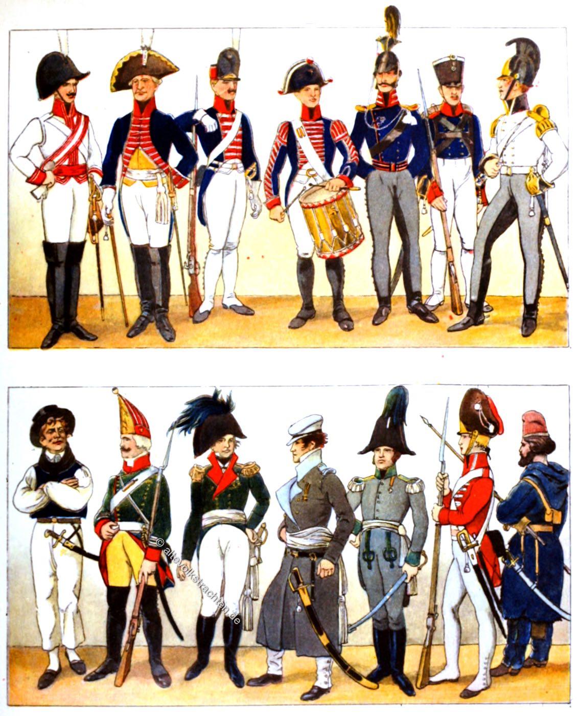 Militär, Uniformen, Russland, England, Preussen, Österreich