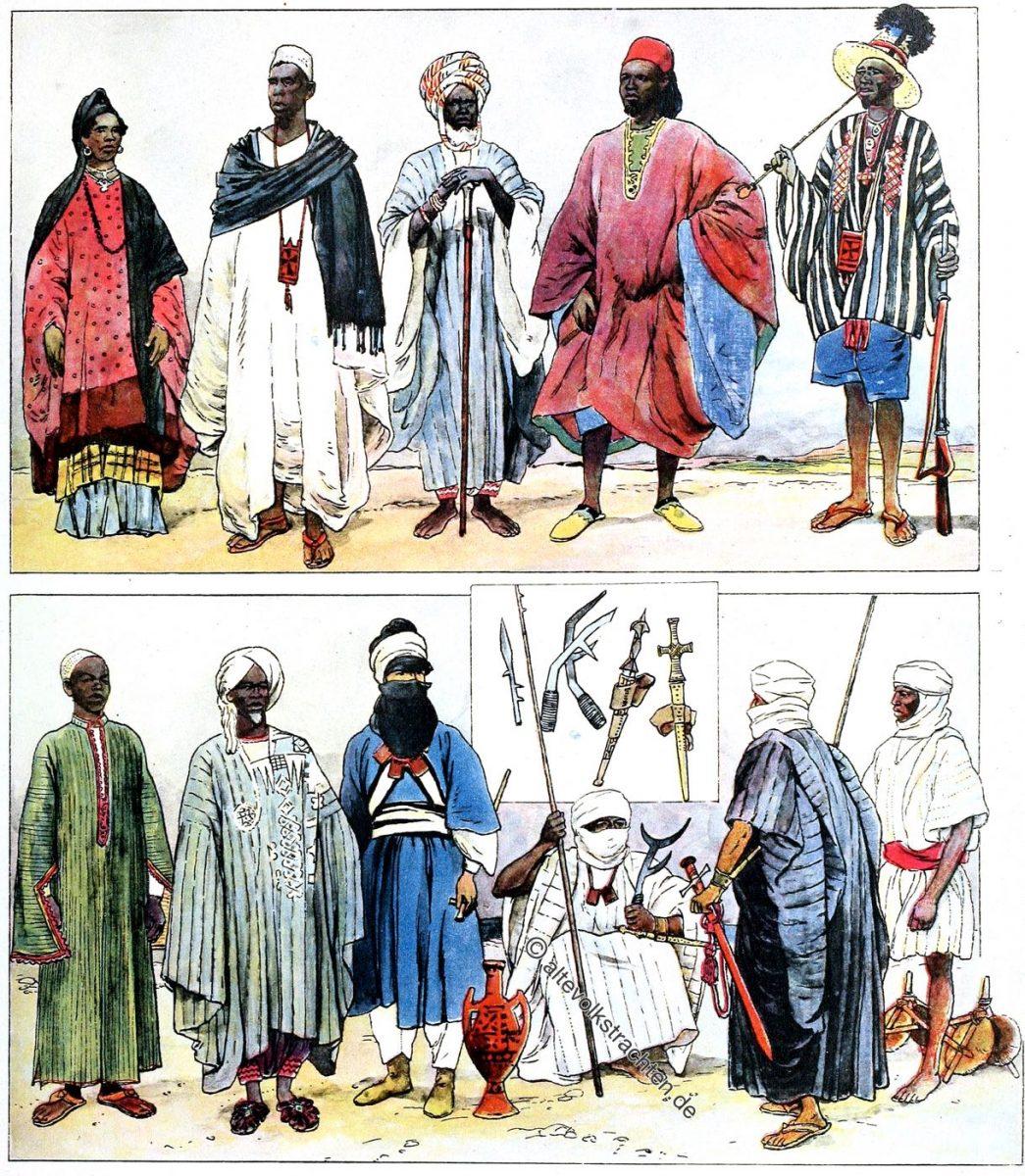 Volkstrachten der Sahara und Sudan. Senegal, Bornu, Tuareg, Tibbu, Fulbe.