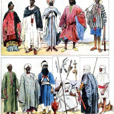 Volkstrachten der Sahara und Sudan.