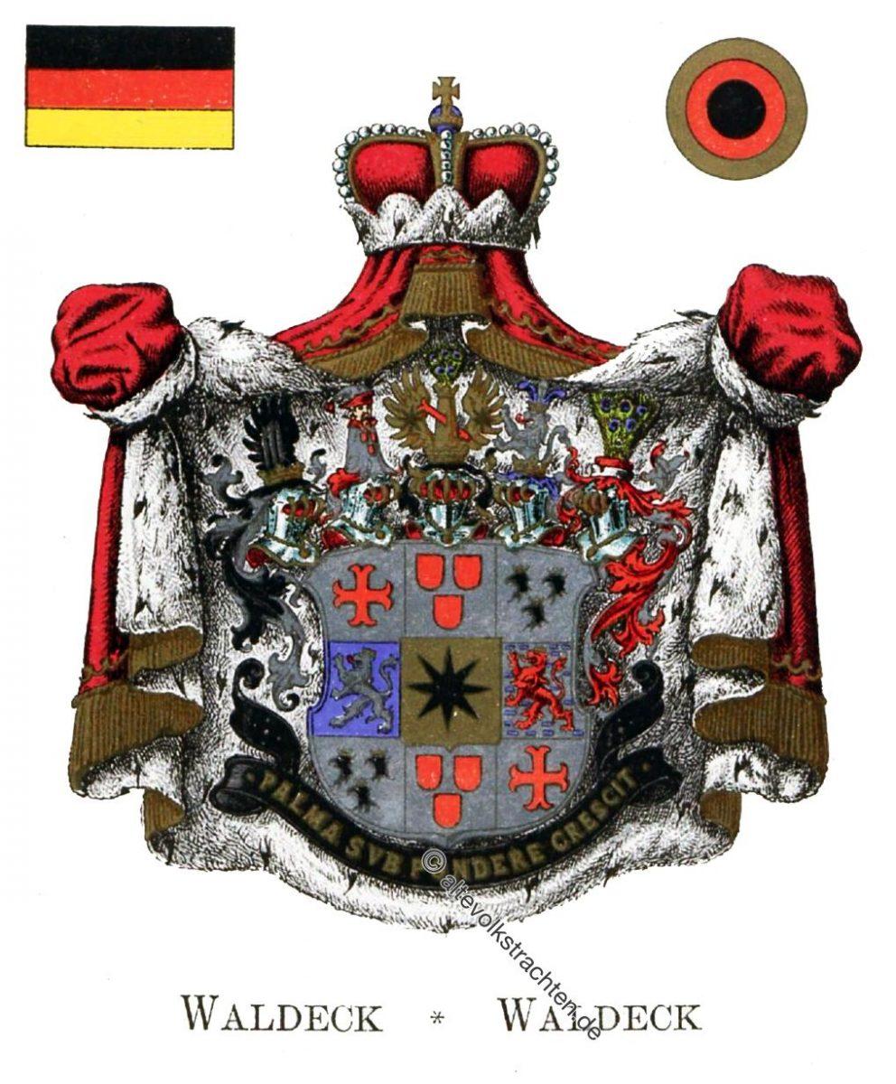 Waldeck, Staatswappen, Wappen, Heraldik, Deutschland, Landesflaggen, Kokarden,