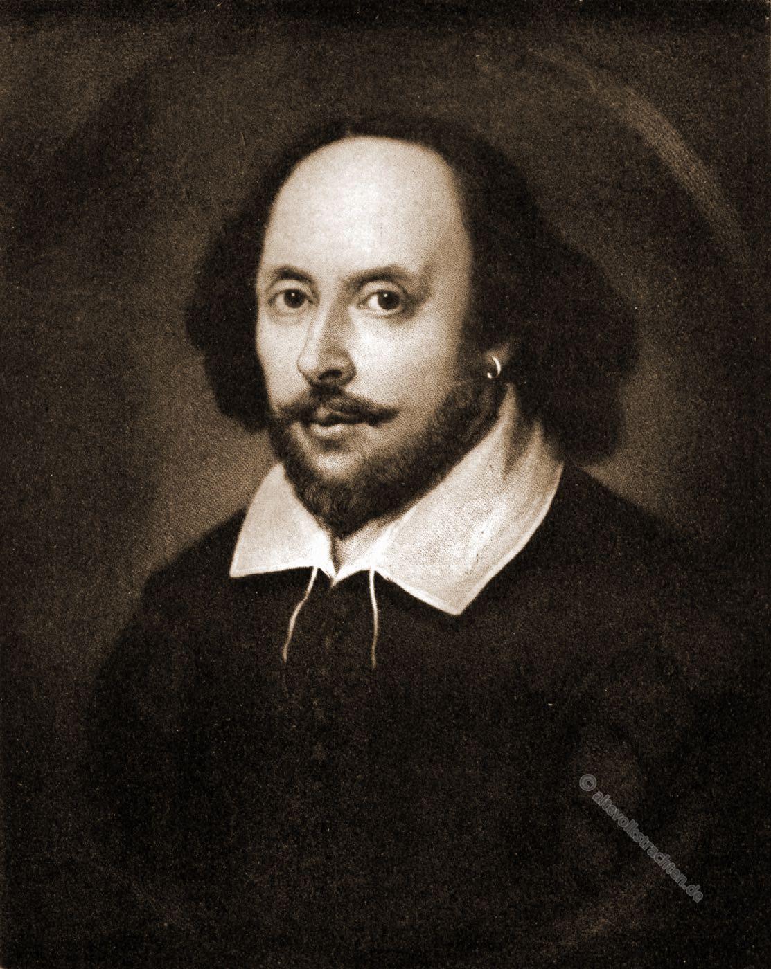 William Shakespeare, Portrait, England, Dramatiker, Lyriker, Schauspieler, Barock, Komödien, Tragödien, Bühnenstücke, Weltliteratur
