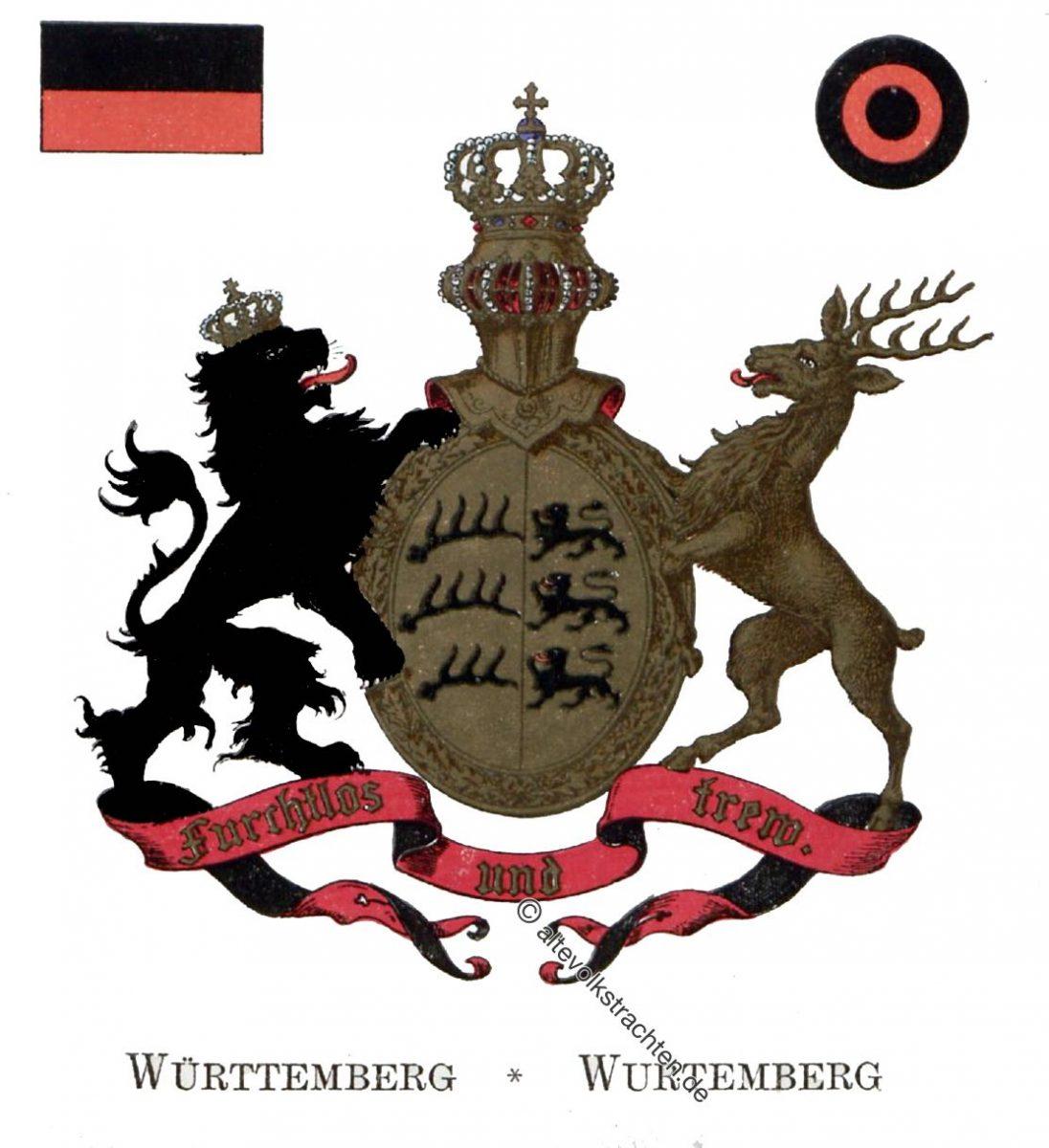 Württemberg, Staatswappen, Wappen, Heraldik, Deutschland, Landesflaggen, Kokarden,