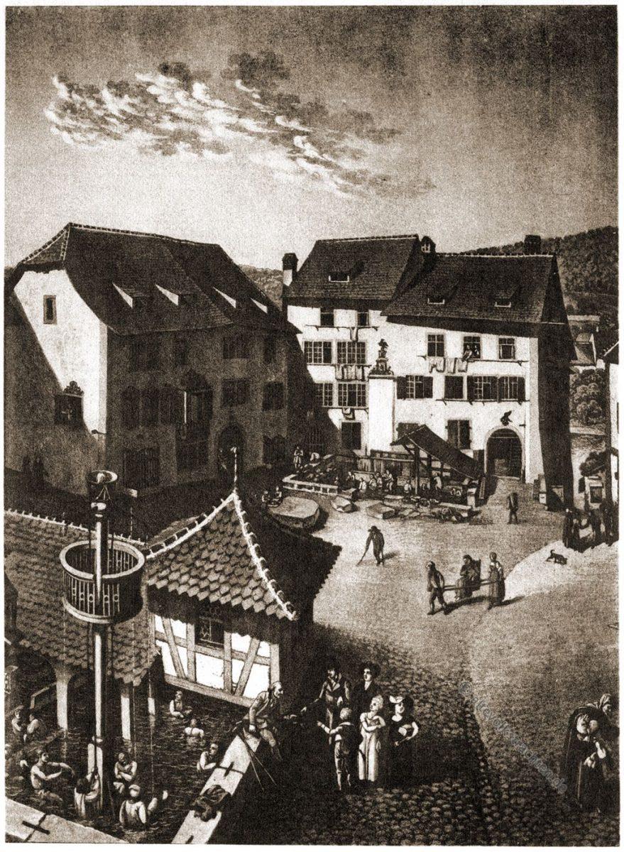 Baden, Schweiz, Heilbäder, Kupferstich, Franz Hegi
