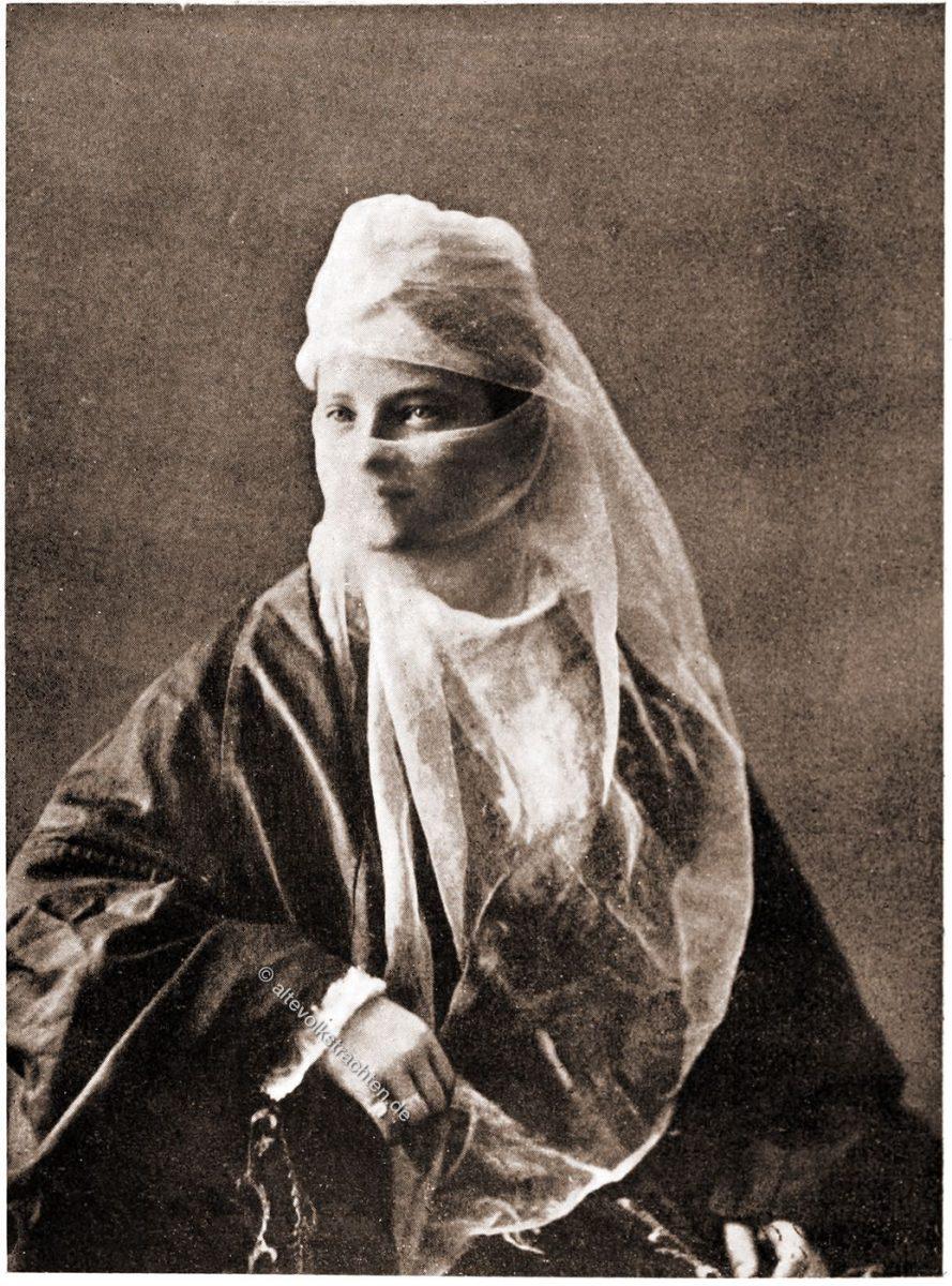 türkische Dame, Konstantinopel, Istanbul, Kleidung, Schleier, verschleiert