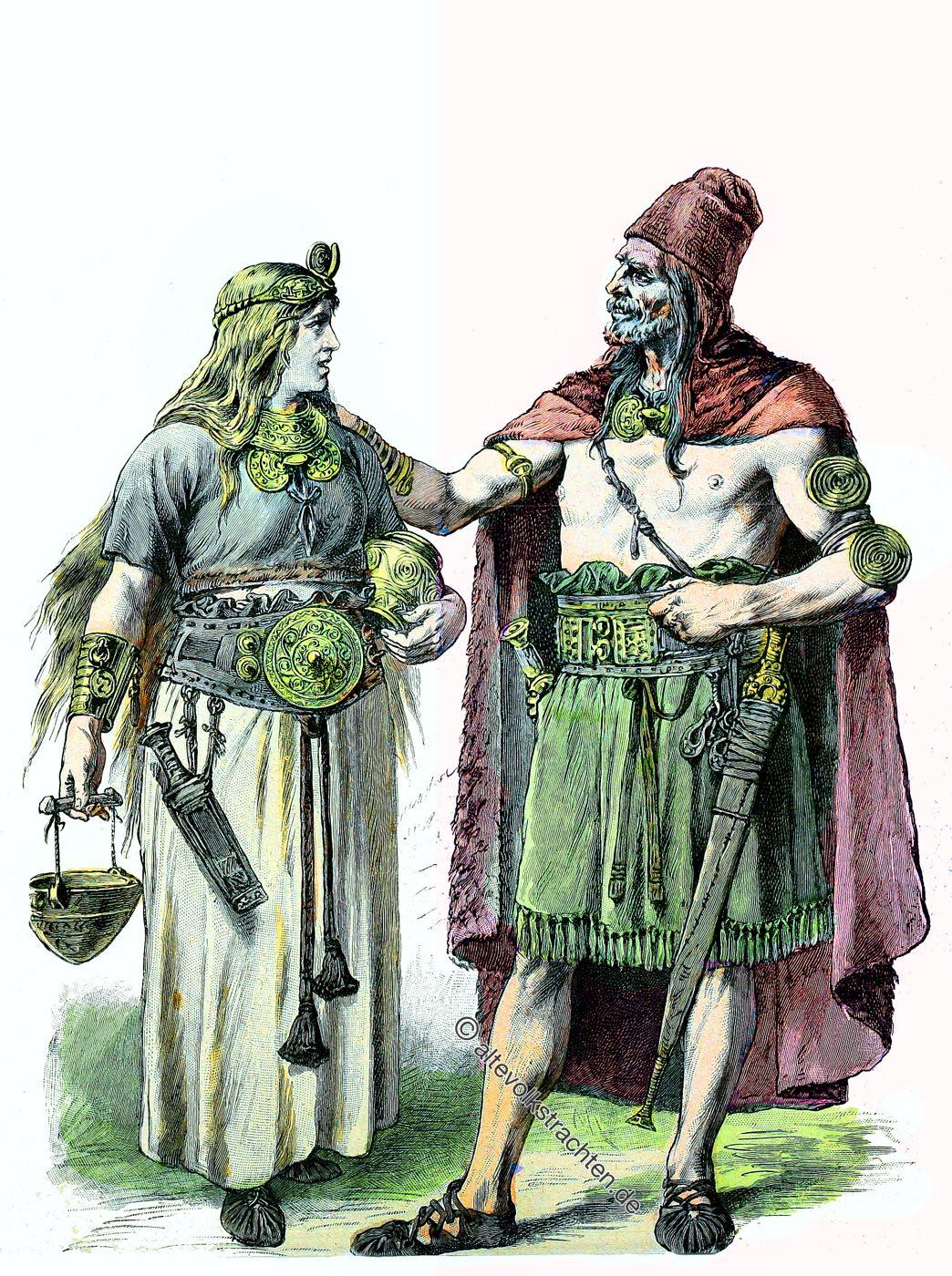 Kleidung, Kostüme, Trachten, Germanen, Bronzezeit, Münchener Bilderbogen,