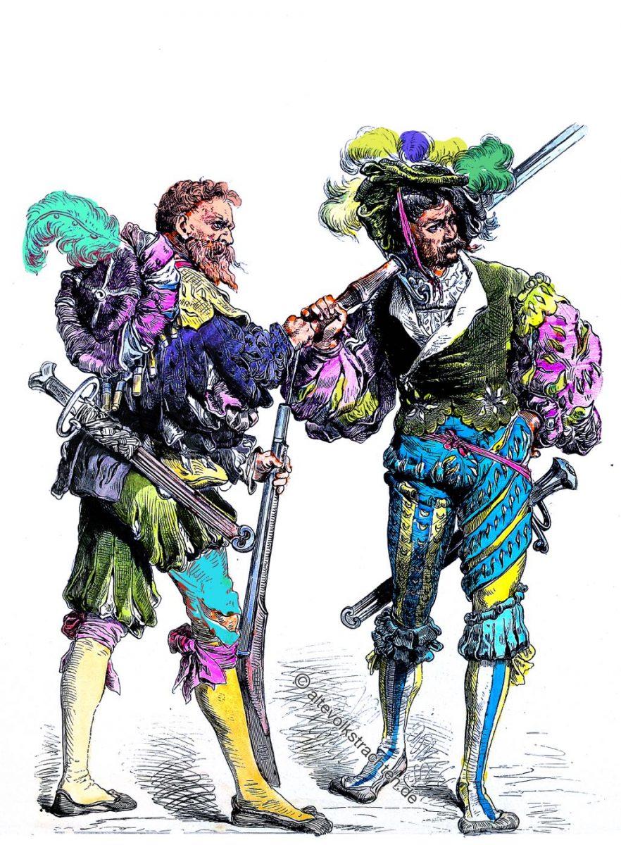Deutsche Landsknechte, Renaissance, Söldner, Soldaten, Kostüme, Trachten, Bewaffnung