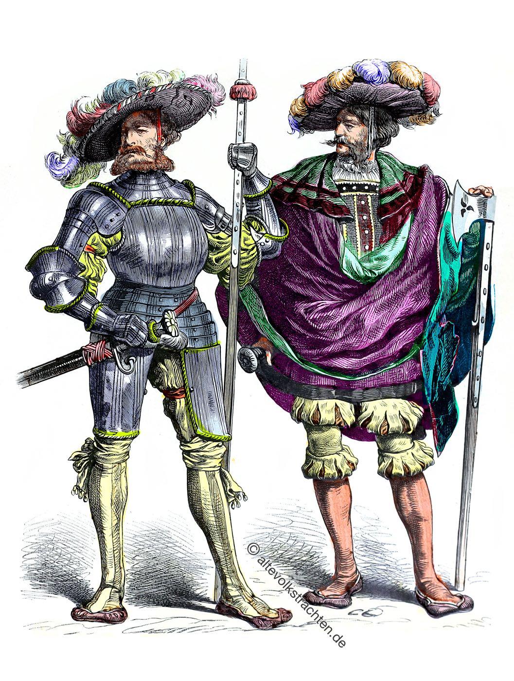 Leutnant, Hauptmann, Deutsche Landsknechte, Renaissance, Söldner, Soldaten, Kostüme, Trachten, Bewaffnung