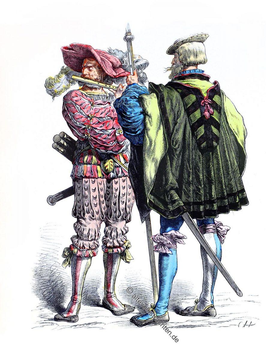 Pfeiffer, Weibel, Deutsche Landsknechte, Renaissance, Söldner, Soldaten, Kostüme, Trachten, Bewaffnung