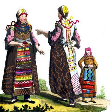 Finninnen in Trachten um 1813.
