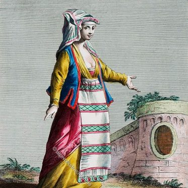 Italienische Tracht einer Frau von Gaeta, Latinum.