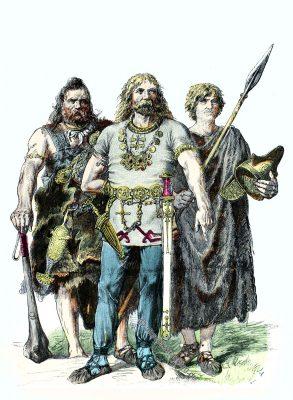 Antike, Kleidung, Kostüme, Trachten, Germanen, Münchener Bilderbogen,