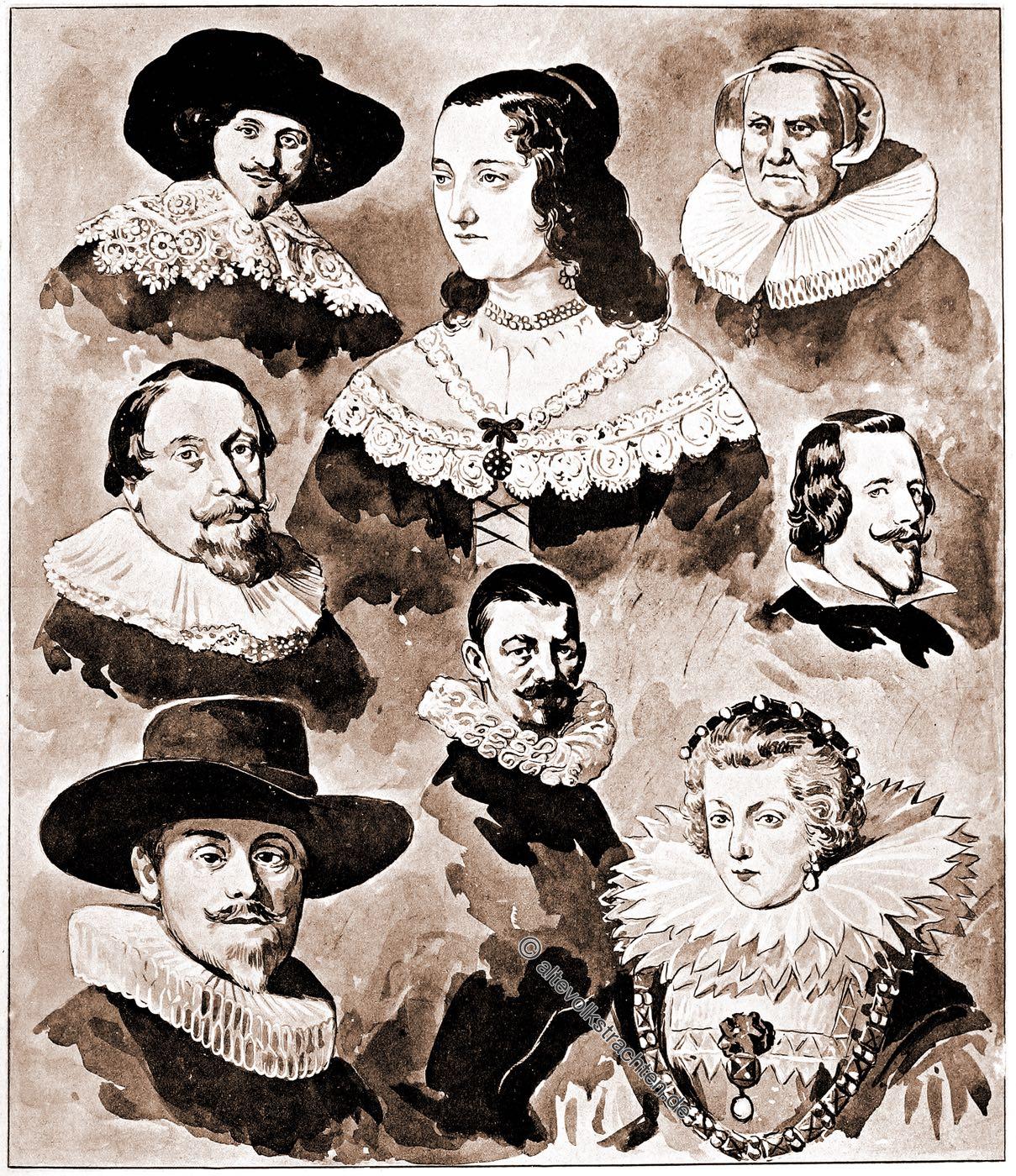 Barck, Mode, Kostümgeschichte, Halskrausen, Mühlsteinkragen, Tellerkrause, Kröse, Duttenkragen, Fraise,
