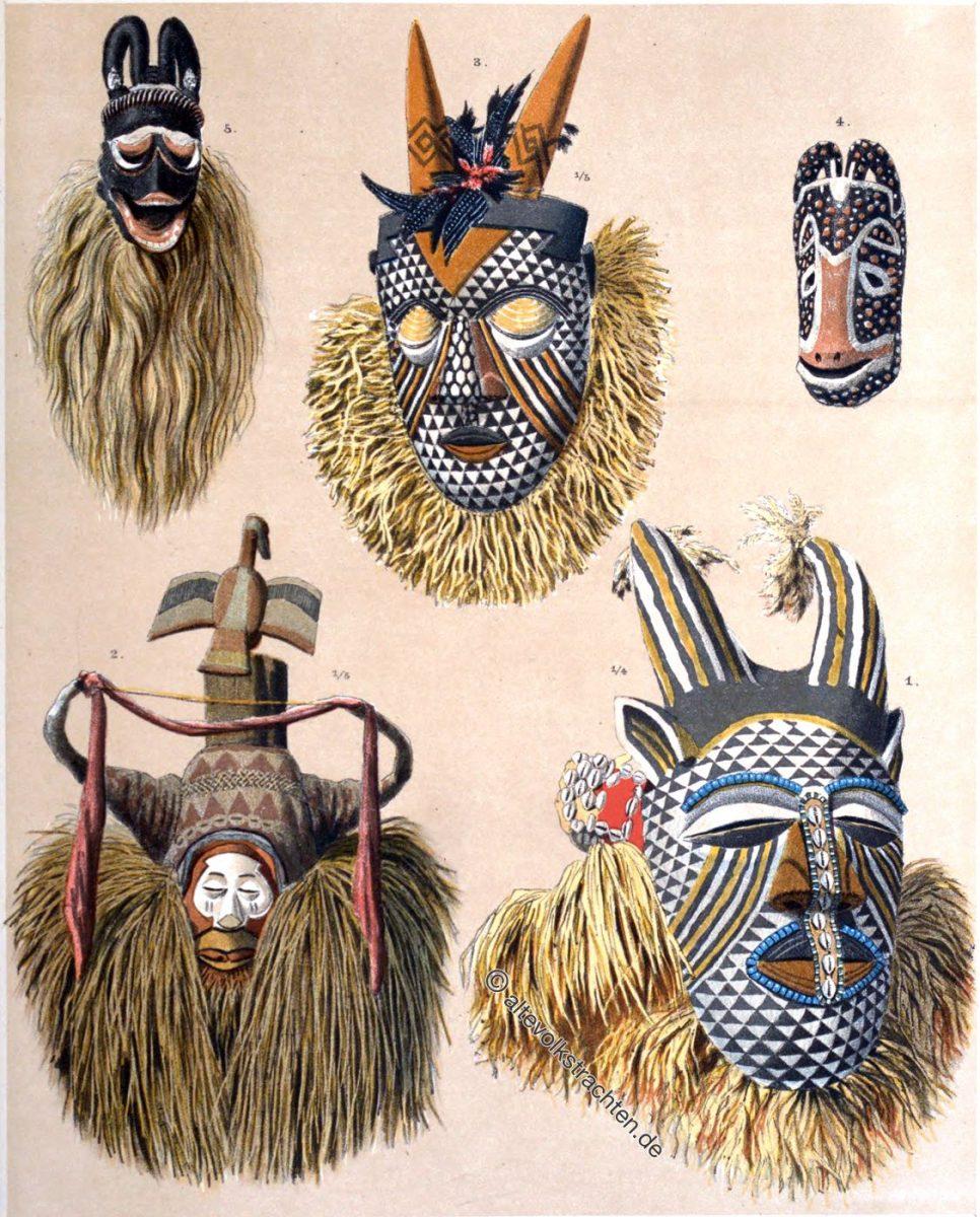 Hörnermasken, Afrika, Kongo, Kamerun,